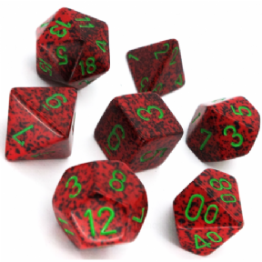 Red & Green 'Strawberry' Speckled Polyhedral 7 Dice Set